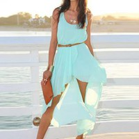 Sleeveless Green Asymmetrical Chiffon Dress
