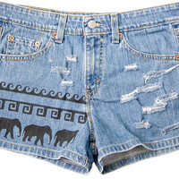 Tribal Aztec Elephant Waves Shorts Hand Painted Vintage Distressed High Waisted Denim Boho Coachella Hipster Medium Large W30