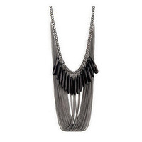 Beaded Black Multi Layers Chain Tassel Bib Necklace wholesale