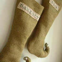 SALEPair of Naughty and Nice Burlap Elf Stockings by habitationinc