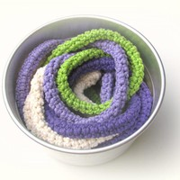 Crochet Skinny Scarf - Knitted Jewelry - Extra Long Necklace - Bright Autumn Colors - Cream, Purple
