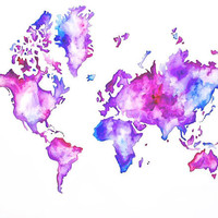 Beautiful watercolor map painting.