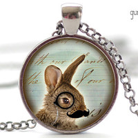 Bunny with a Mustache and Monocle Necklace, Bunny Necklace, Bunny Charm, Rabbit Necklace, Hipster Jewelry, Rabbit Charm (604)