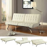 Faux Leather Convertible Futon | Furniture | SkyMall