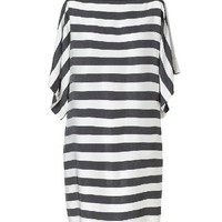 Mono Stripe Print Dress with Slash Neckline