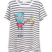 High Low Hem T-shirt with Black Stripe and Cartoon Monster Print