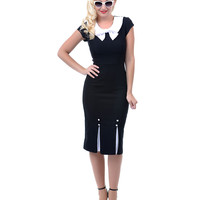 Stop Staring Black Fitted First Class Wiggle Dress - Unique Vintage - Prom dresses, retro dresses, retro swimsuits.