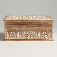Whitewashed Carved Amelia Jewelry Box | World Market