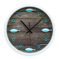 YCC Sea Fish Wood Grain Wall Clock Blue