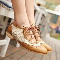 lulula-fashion shopping mall —Hansenne aulic retro lace sweet hollow flower shoes