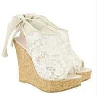 lulula-fashion shopping mall —Hansenne Lace wedge heels sandals high-heeled shoes
