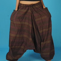 Mens Harem Pants Baggy Genie Fisherman man Pants Trouser jumpsuit Yoga Boho Gypsy Indian women Brown Loose Pants