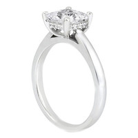 Engagement Ring - Cushion Diamond Solitaire Engagement Ring in 14K White Gold - ES729CUS