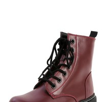 Soda Grunge-s Wine Leather Combat Boots | MakeMeChic.com