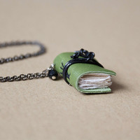 Leather miniature book necklace, mini book jewelry, book lover literature gift, recycled leather, steampunk - green