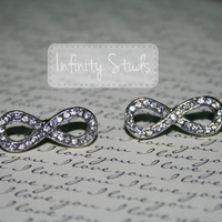 Silver Infinity Stud Earrings with Rhinestones