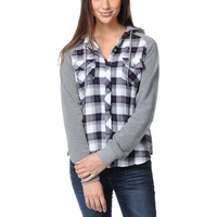 Empyre Girls Sycamore Purple Plaid Hooded Flannel Shirt