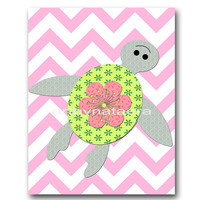 Sea Turtle Baby Girl Nursery Decor Baby nursery print children art print Nursery Print Girl Art 8x10 rose green gray