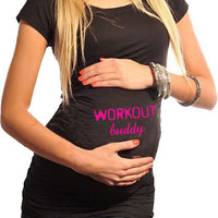 Fitness Maternity T-Shirt Workout Buddy Black