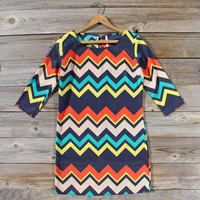 Lucky Star Chevron Dress, Sweet Women's Bohemian Clothing