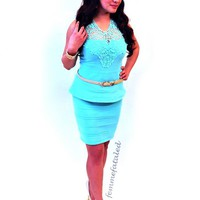 Mint Bandage Peplum Dress with Crochet Neckline