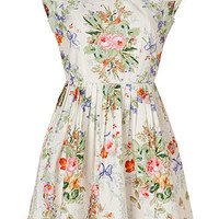 Anna Sui - Cotton Floral Print Dress in Cream Multi