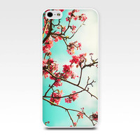 iphone case 4 4s 5 pink flowers blossom floral photography fine art iphone 4 4s 5 case nature botanical pink teal blue cell phone case