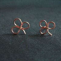 Clover Stud Earrings, Copper studs, Post earrings, small studs