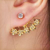 Diamond and Flower Single Ear Cuff (Gold) | LilyFair Jewelry