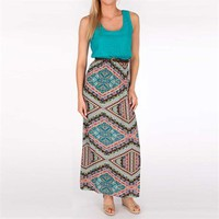 As U Wish Juniors Maxi Dress with Printed Skirt at Von Maur
