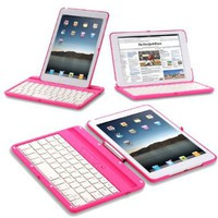 Exact 360 Degree Rotation Bluetooth Keyboard with Aluminum Shelf for IPAD MINI Pink:Amazon:Computers & Accessories
