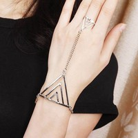 Fashion Triangle Ring Chain Bracelet | LilyFair Jewelry