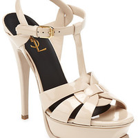 "Some of you have to get in on this: Yves Saint Laurent ""Tribute"" Patent Platform Sandal"