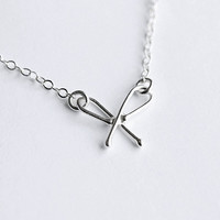 Little Forget Me Not Love Knot Bow Silver Necklace