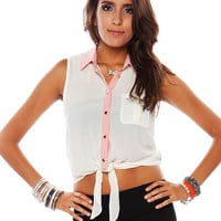 Papaya Clothing Online :: CONTRAST TRIM KNOTTED BLOUSE