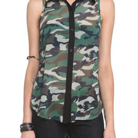 Camo Stud Chiffon Sleeveless Button-Up Top | Hot Topic