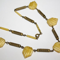 Art Deco Necklace Yellow Satin Glass Geometric 1920s Jewelry