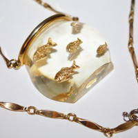 Vintage Lucite Necklace Fish Bowl Pendant  Castlecliff Book Piece 1960s Jewelry