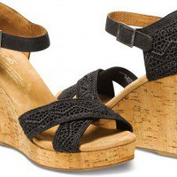 Black Crochet Women's Strappy Wedges | TOMS.com