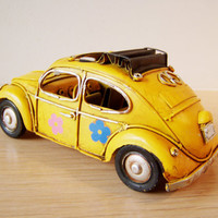 Orange hippie Beetle car miniauture, metal VW bug, collectible miniature car with flower stickers
