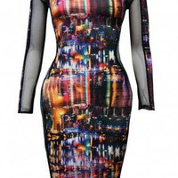 Long Sleeve Bodycon Dress with All Over New York Print