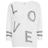 White love print oversized jumper