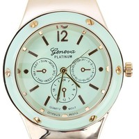 Mint Gold Round Metallic Face Rubber Watch and Shop Accessories at MakeMeChic.com