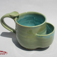 Teabag Mug - Green and Seafoam
