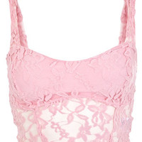 Pink Longline Lace Bra - Crop Tops & Bralets - Crop Tops & Bralets - Tops  - Clothing