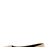 City Classified Quant Oat Beige Medallion Ballet Flats