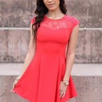 Coral Sleeveless Skater Dress with Lace and Cutout Detial