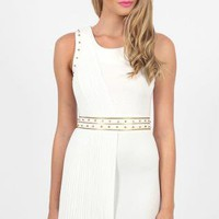 White Sleeveless Coctail Dress with One-Sided Sheer Overlay