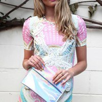 Multicolored Pastel Party Dress with Crotcheted Lace Detail