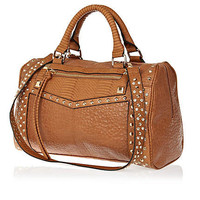 Tan stud and gem bowler bag - shoulder bags - bags / purses - women